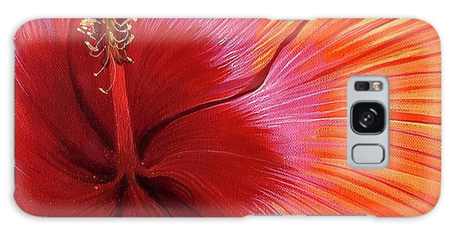 Hibiscus Galaxy Case featuring the painting Tequila Sunrise by Hunter Jay