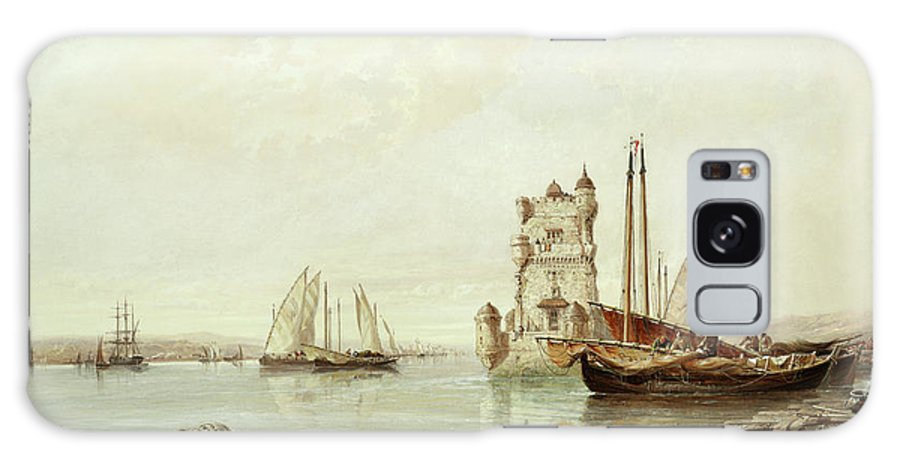 The Mouth Of The Tagus Galaxy Case featuring the painting The Mouth Of The Tagus, Lisbon by Arthur Joseph Meadows