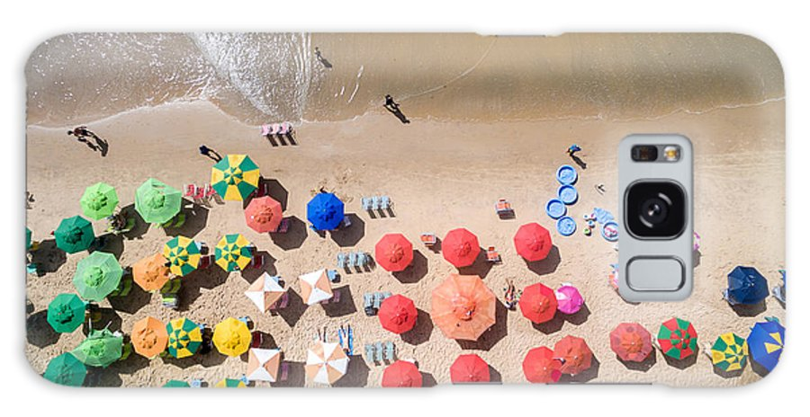 Joao Galaxy S8 Case featuring the photograph Top View Of Umbrellas In A Beach by Gustavo Frazao