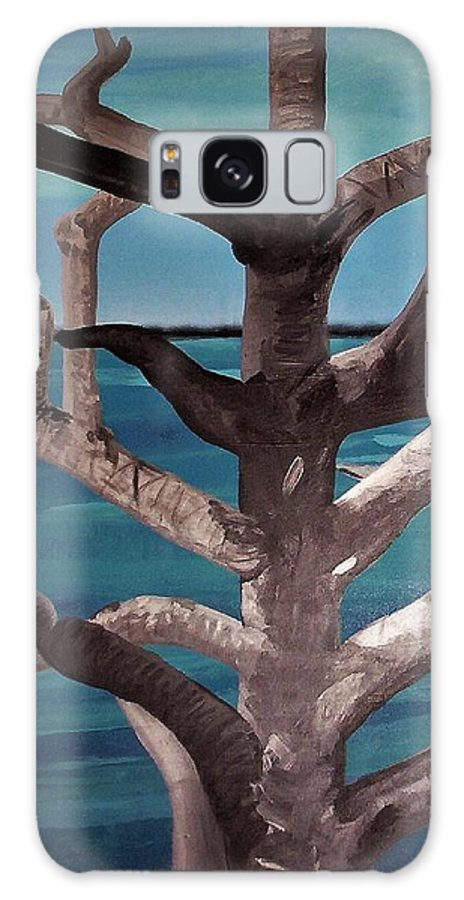 Tree Galaxy S8 Case featuring the painting Tree And Beach by Joan Stratton