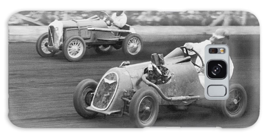 People Galaxy Case featuring the photograph Two Men Racing Midget Cars B&w by Fpg