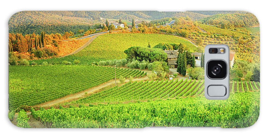 Environmental Conservation Galaxy Case featuring the photograph Vineyard Sunset Landscape From Tuscany by Csondy