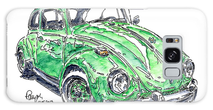 Vw Beetle 1302 Ls Galaxy Case featuring the drawing VW Beetle 1302 LS 1971 Classic Car Ink Drawing and Watercolor by Frank Ramspott