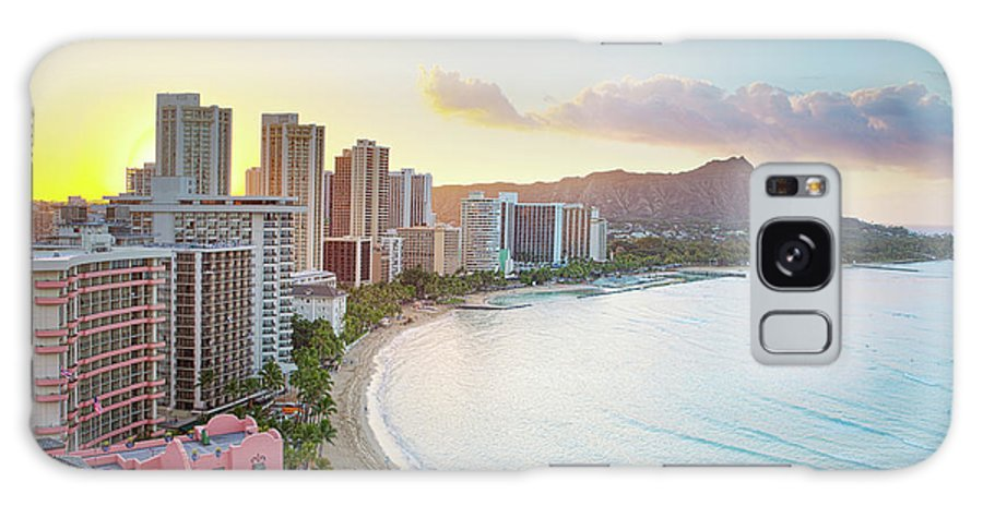 Scenics Galaxy Case featuring the photograph Waikiki Beach At Sunrise by M Swiet Productions