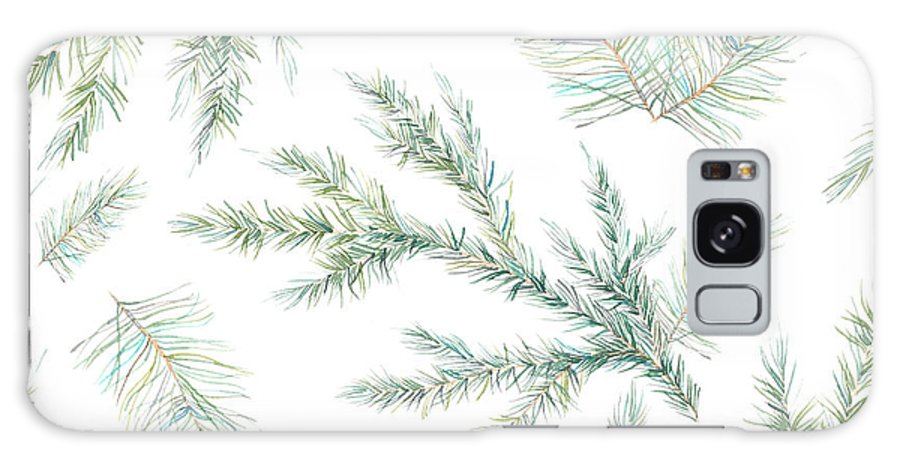 Year Galaxy S8 Case featuring the digital art Watercolor Christmas Tree Branches by Eisfrei