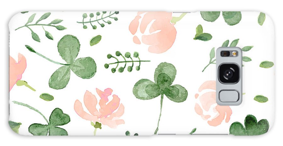 Symbol Galaxy S8 Case featuring the digital art Watercolor Clover And Little Flowers by Antalogiya