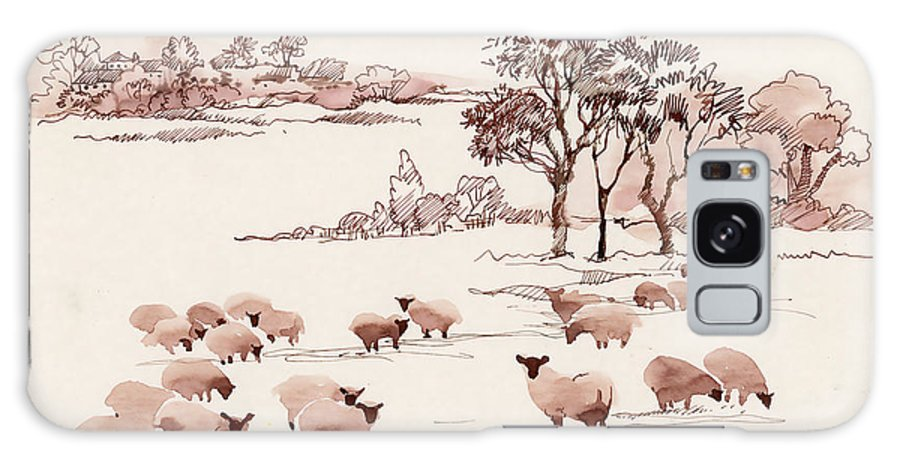 Milch Galaxy S8 Case featuring the digital art Watercolor Summer Landscape With Sheep by Kostanproff