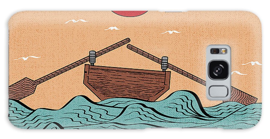 Vintage Woodcut Galaxy Case featuring the digital art Wavy Sea Landscape Depicting Boat With by Drug Naroda