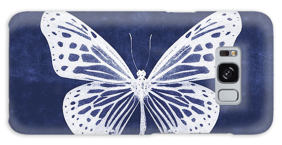 Butterfly Galaxy S8 Case featuring the mixed media White And Indigo Butterfly- Art By Linda Woods by Linda Woods