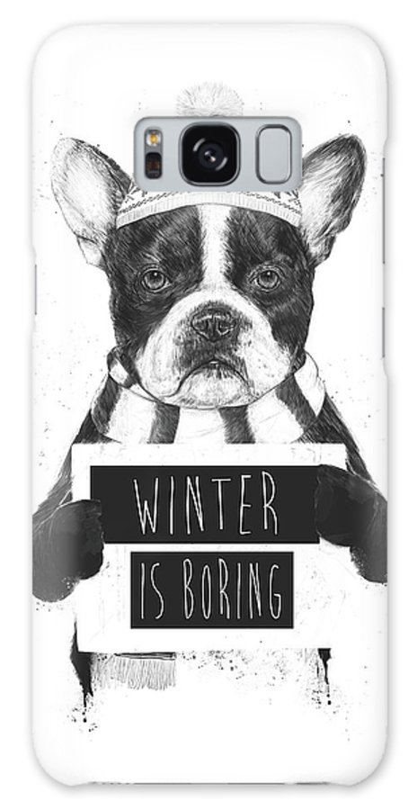 Bulldog Galaxy Case featuring the mixed media Winter Is Boring by Balazs Solti