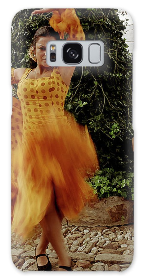 Blurred Motion Galaxy Case featuring the photograph Woman Flamenco Dancer, Outdoors by Tim Macpherson