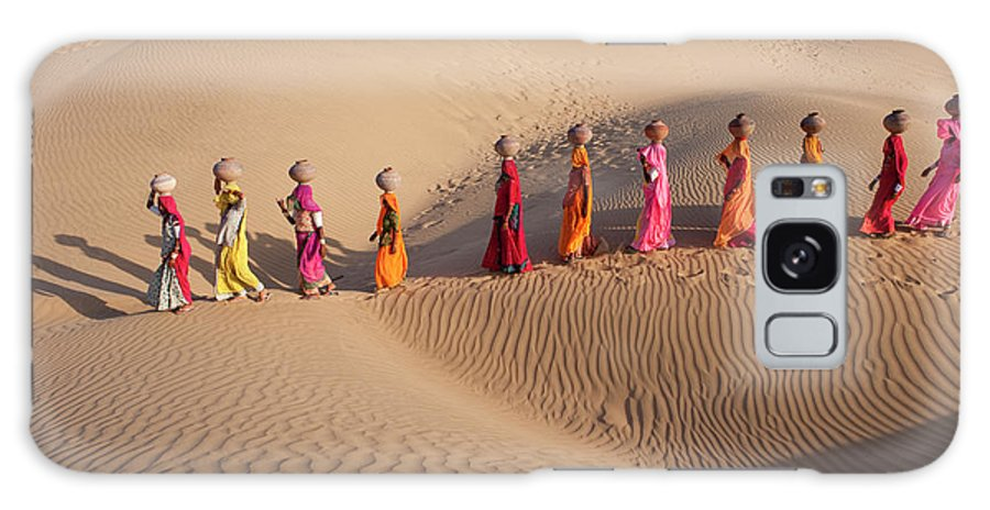 People Galaxy Case featuring the photograph Women Fetching Water From The Sparse by Mint Images - Art Wolfe