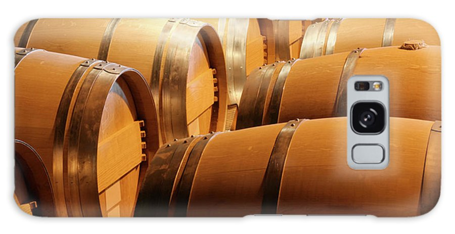 Fermenting Galaxy Case featuring the photograph Wood Wine Barrels In Winery Cellar In by Yinyang
