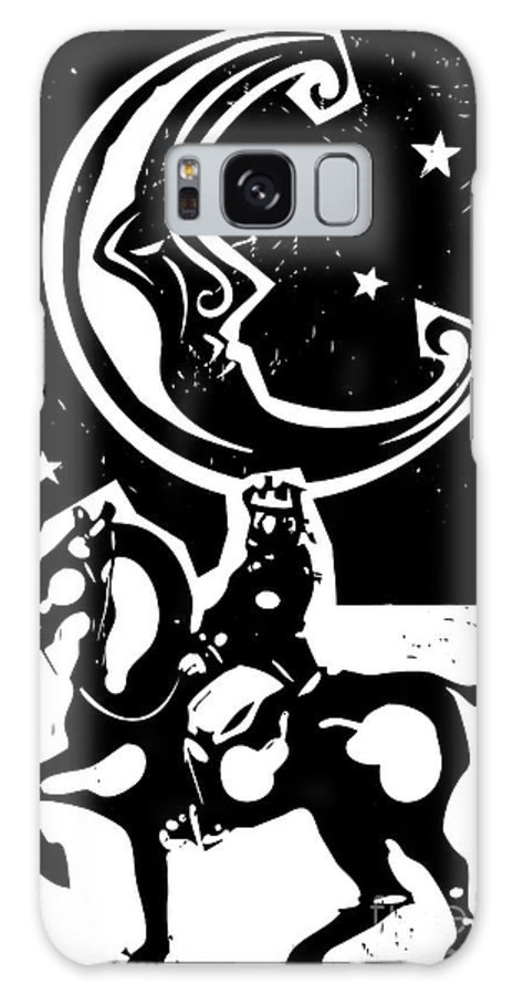 Magic Galaxy S8 Case featuring the digital art Woodcut Style Moon And Mounted King On by Jef Thompson