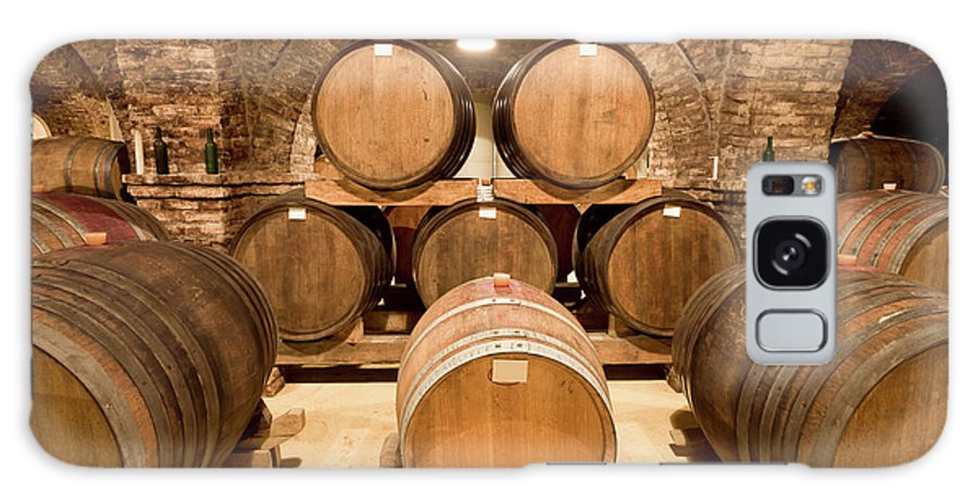 Arch Galaxy Case featuring the photograph Wooden Barrels In Wine Cellar by Benedek