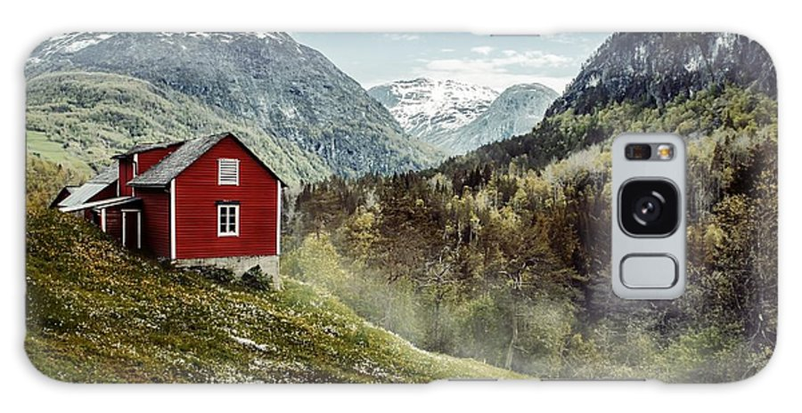 Hut Galaxy S8 Case featuring the photograph Wooden Cottage In The Valley. Flowers by Oleksandr Mazur