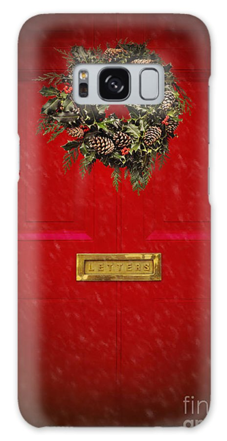 Wreath Galaxy Case featuring the photograph Wreath On Red Door by Lyn Randle