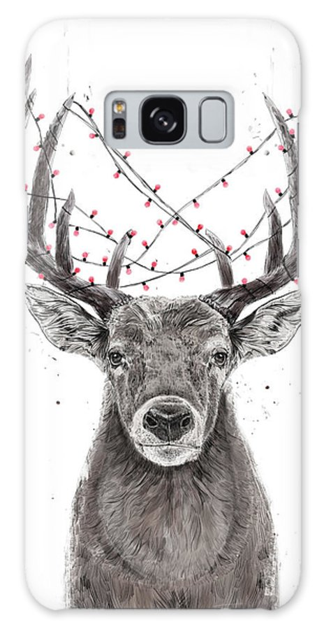 Deer Galaxy Case featuring the drawing Xmas Deer by Balazs Solti