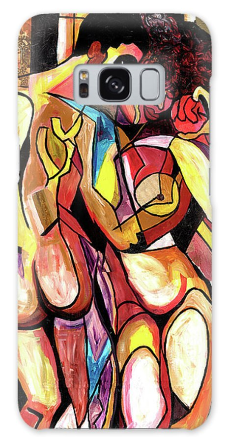 African Mask Galaxy S8 Case featuring the mixed media Forbidden Fruit by Everett Spruill