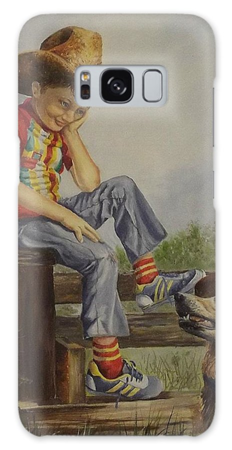 A Young Boy Galaxy S8 Case featuring the painting Lil Cowboy by Wanda Dansereau