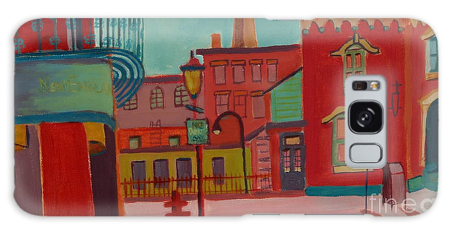 Cityscape Galaxy Case featuring the painting Middle Street in Lowell MA by Debra Bretton Robinson