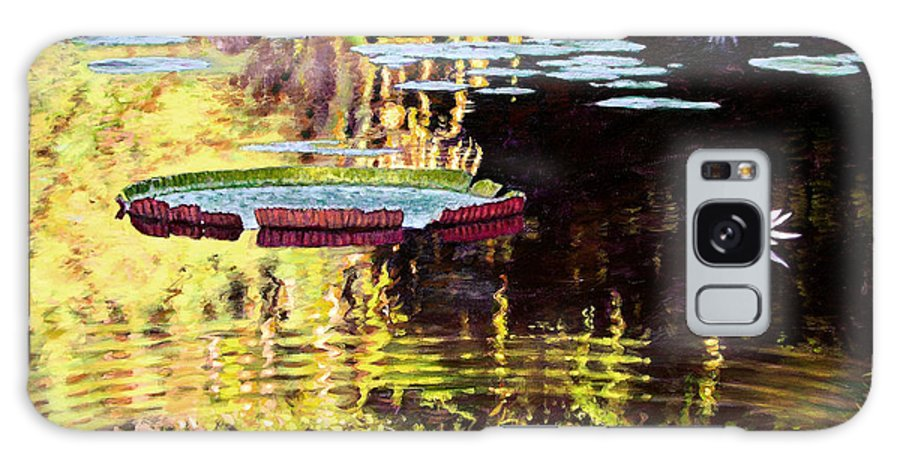 Garden Pond Galaxy S8 Case featuring the painting Ripples On A Quiet Pond by John Lautermilch