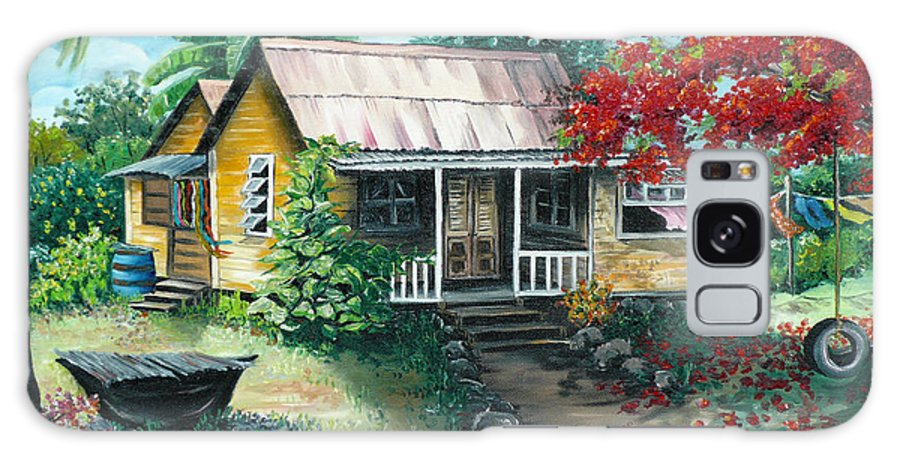 Landscape Painting Caribbean Painting Tropical Painting Island House Painting Poinciana Flamboyant Tree Painting Trinidad And Tobago Painting Galaxy Case featuring the painting Trinidad Life by Karin Dawn Kelshall- Best