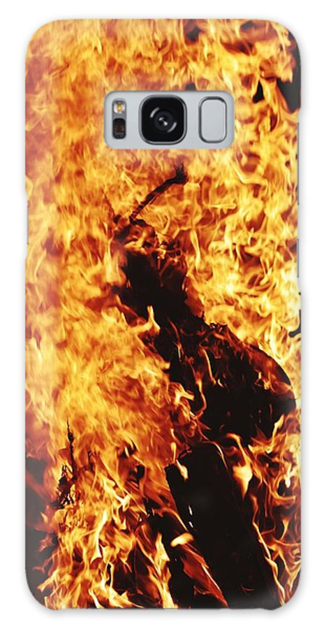 Campfire Galaxy Case featuring the photograph Closeup of Fire at time of festival by Ravindra Kumar