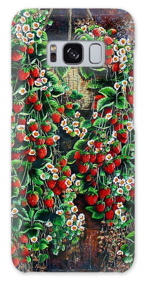 Fruit Painting Strawberry Painting Red Floral Painting Hanging Strawberry Basket Painting Botanical Painting Fruit Painting Galaxy S8 Case featuring the painting A Berry Sweet Basket by Karin Dawn Kelshall- Best