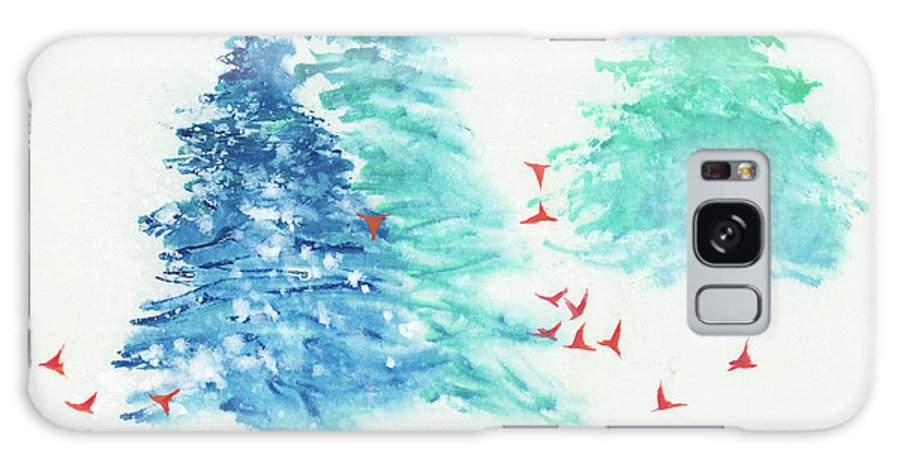 A Flock Of Happy Red Birds Gathers Around A Snowy Wood. It's A Simple Contemporary Chinese Brush Painting On Rice Paper. Galaxy Case featuring the painting A Happy Flock by Mui-Joo Wee