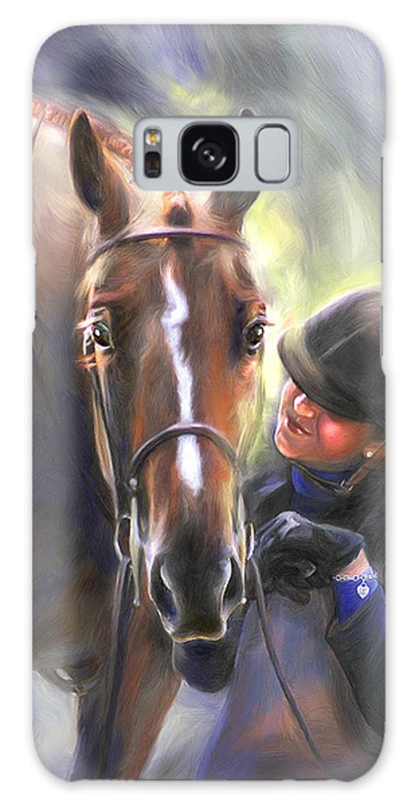 Horse Galaxy S8 Case featuring the painting A Secret Shared Hunter Horse With Girl by Connie Moses