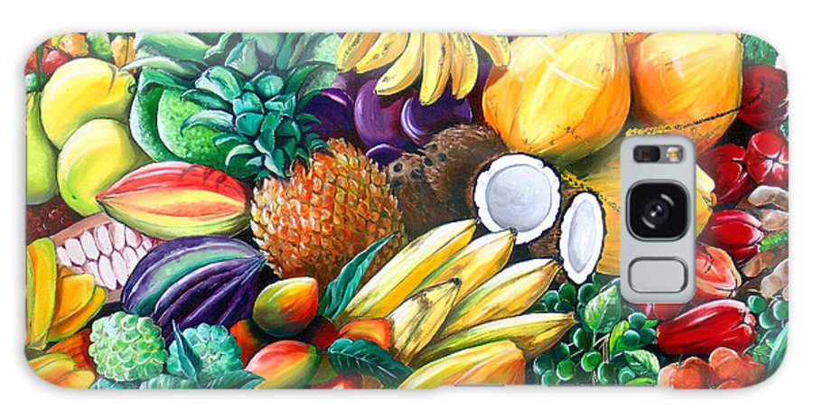 Caribbean Fruit Painting Tropical Fruit Painting Caribbean Pineapple Mangoes Bananas Coconut Watermelon Tropical Fruit Painting Galaxy Case featuring the painting A Taste Of The Islands by Karin Dawn Kelshall- Best