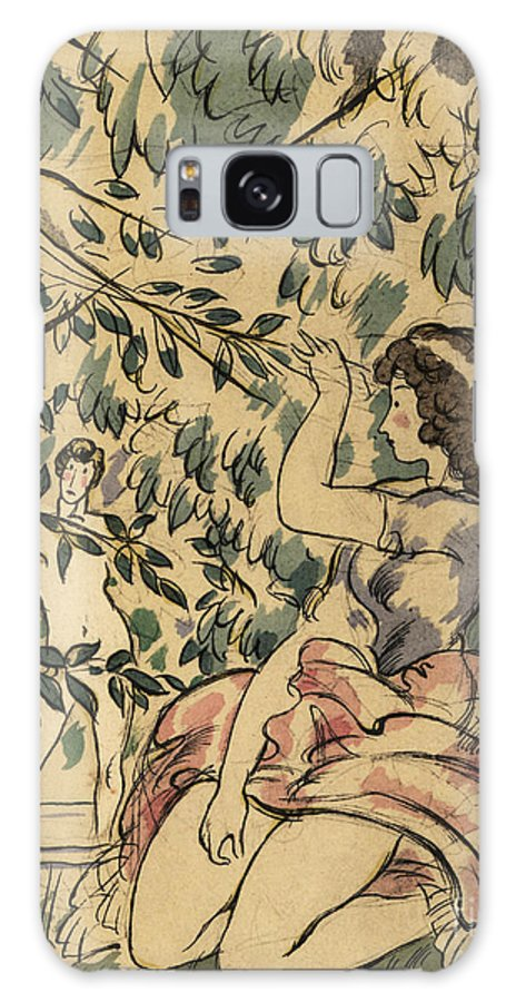 Young Woman Galaxy Case featuring the painting A Young Woman Watches A Naked Man Bathing In A Stream by Charles Martin