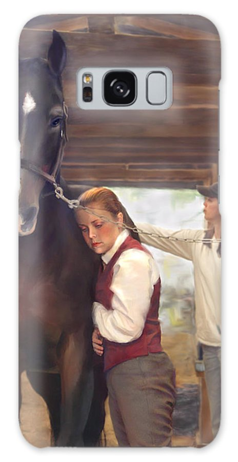 Horse Galaxy Case featuring the painting Aisle Hug Horse Show Barn Candid Moment by Connie Moses