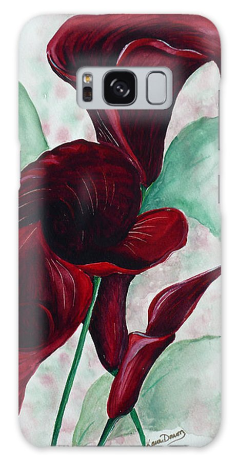 Flower Painting Floral Painting Botanical Painting Tropical Painting Caribbean Painting Calla Painting Red Lily Painting Deep Red Calla Lilies Original Watercolor Painting Galaxy S8 Case featuring the painting Black Callas by Karin Dawn Kelshall- Best