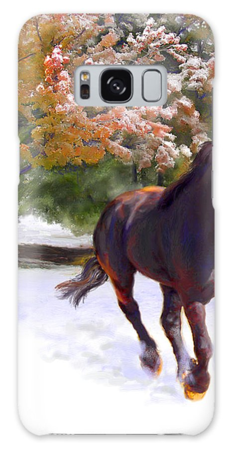 Horse Galaxy Case featuring the painting Black Stallion In Fall Snow Fantasy Art by Connie Moses
