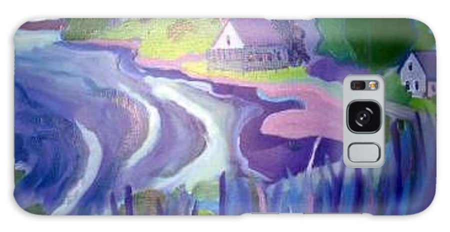Cottages Galaxy S8 Case featuring the painting Blue Cottages by Debra Bretton Robinson