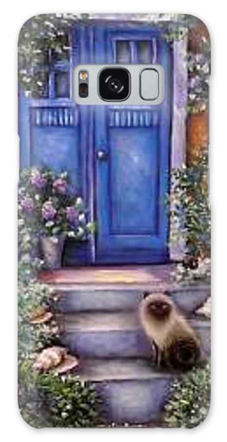 Whimsy Galaxy S8 Case featuring the painting Blue Door by L Risor