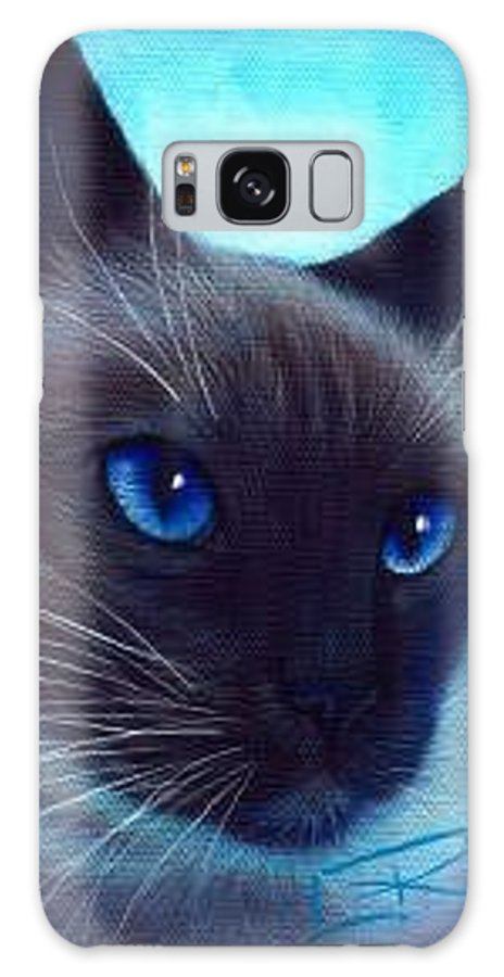 Whimsy Galaxy Case featuring the painting Blue Eyes by L Risor