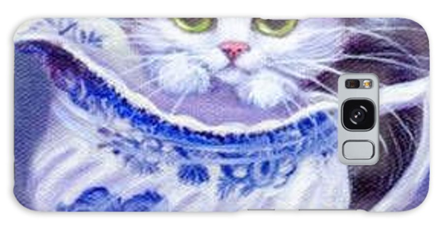 Whimsy Galaxy Case featuring the painting Blue Willow Cream Tux Kitty by L Risor