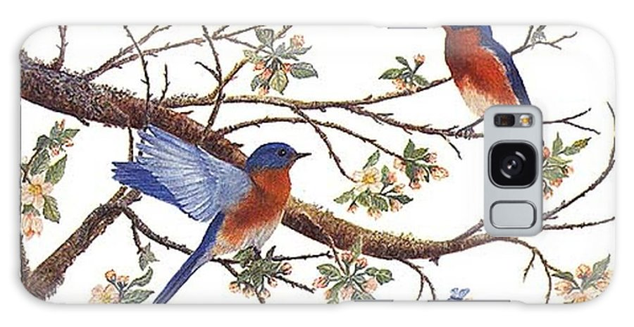 Bluebirds Galaxy S8 Case featuring the painting Bluebirds And Apple Blossoms by Ben Kiger