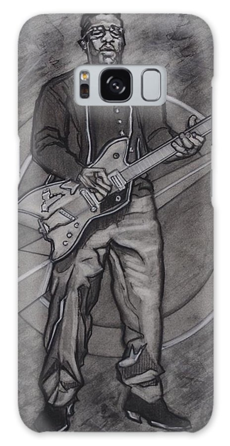 Texas Galaxy S8 Case featuring the drawing Bo Diddley - Have Guitar Will Travel by Sean Connolly