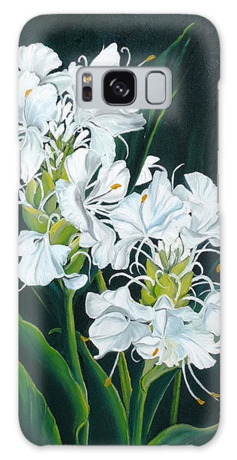 Caribbean Painting Butterfly Ginger Painting Floral Painting Botanical Painting Flower Painting Water Ginger Painting Or Water Ginger Tropical Lily Painting Original Oil Painting Trinidad And  Tobago Painting Tropical Painting Lily Painting White Flower Painting Galaxy S8 Case featuring the painting Butterfly Ginger by Karin Dawn Kelshall- Best