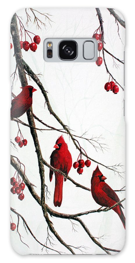 Birds; Cardinals; Trees Galaxy Case featuring the painting Cardinals And Crabapples by Ben Kiger
