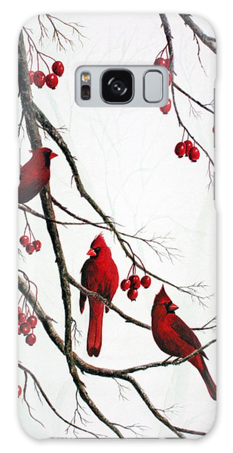 Birds; Cardinals; Trees Galaxy S8 Case featuring the painting Cardinals And Crabapples by Ben Kiger