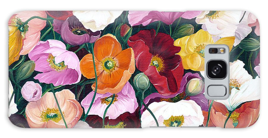 Flower Painting Floral Painting Poppy Painting Icelandic Poppies Painting Botanical Painting Original Oil Paintings Greeting Card Painting Galaxy S8 Case featuring the painting Cascade Of Poppies by Karin Dawn Kelshall- Best