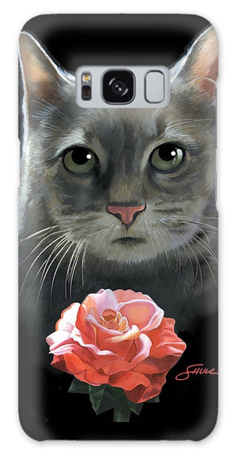 #cat Galaxy S8 Case featuring the painting Cleo And The Rose by Harold Shull