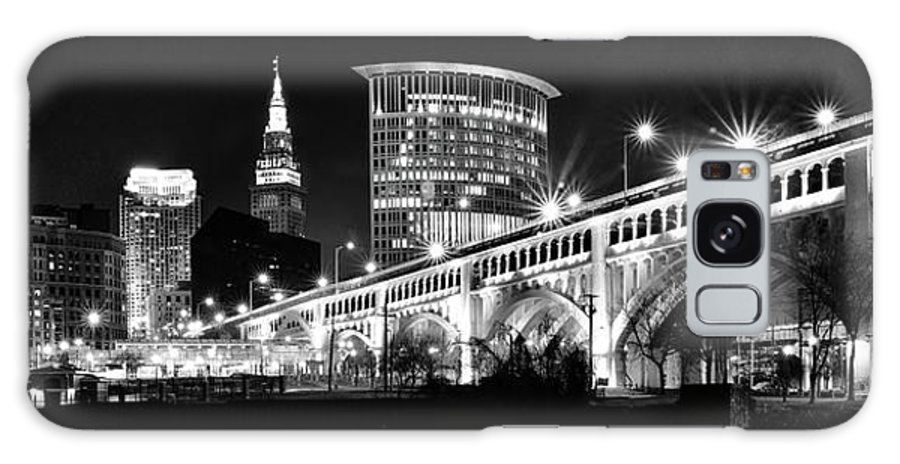 Cleveland Galaxy Case featuring the photograph Cleveland Skyline by Frozen in Time Fine Art Photography