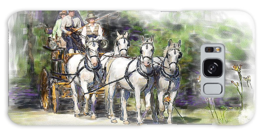 Horse Galaxy S8 Case featuring the painting Coaching In Acadia- Carriage Driving Four In Hand by Connie Moses