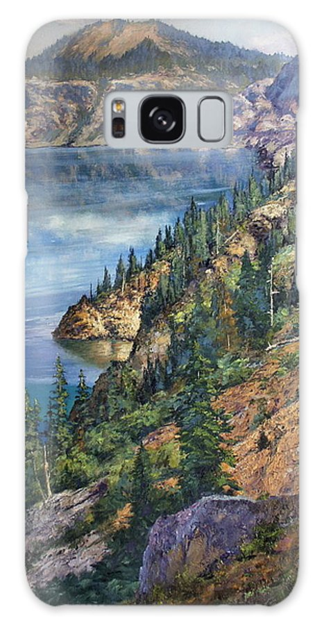 Crater Lake Oregon Galaxy S8 Case featuring the painting Crater Lake Overlook by Donald Neff